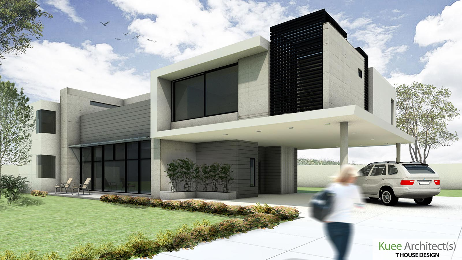 Initial artist's 3D concept art on T House Modern Bungalow design