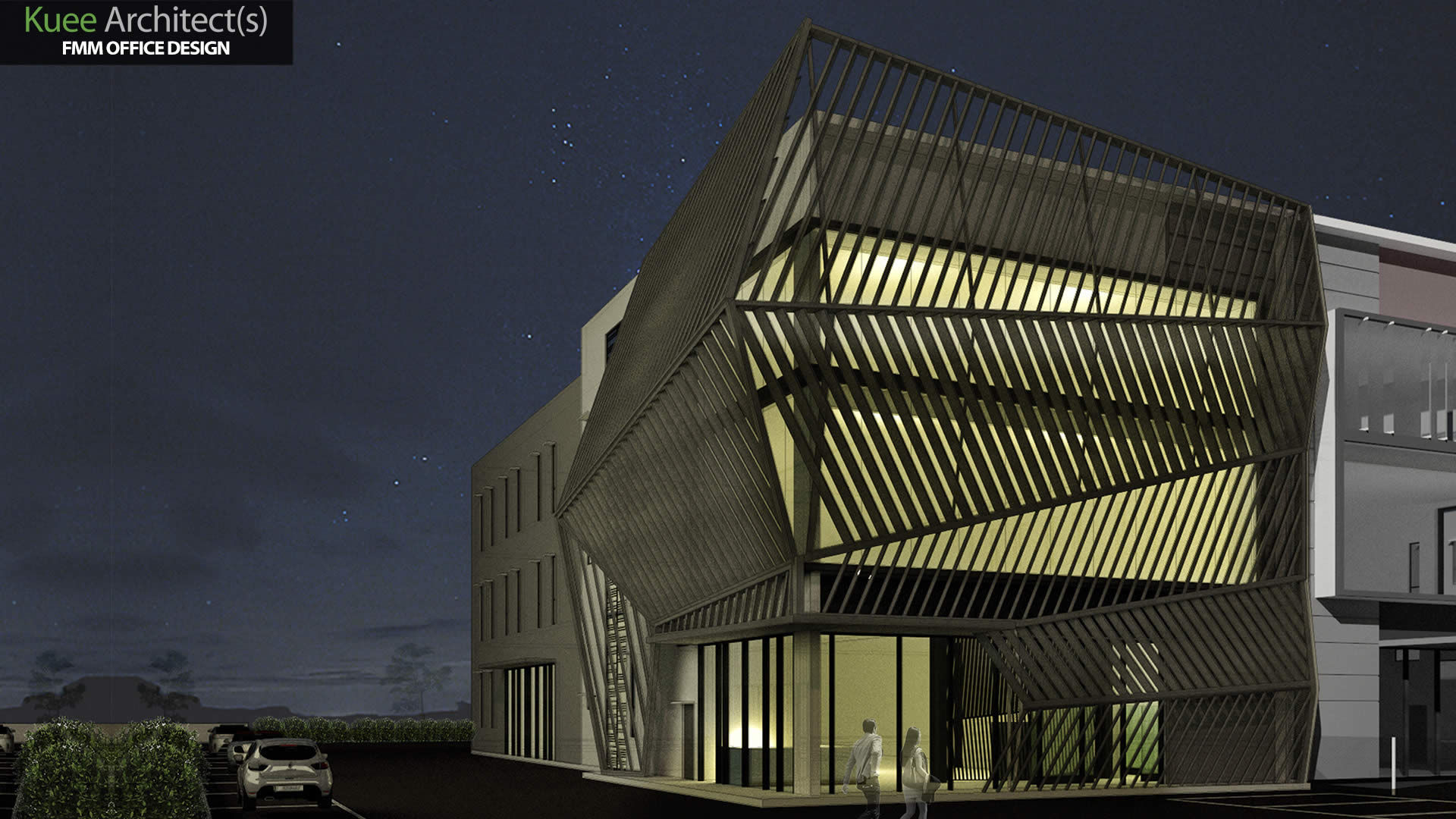 Night view Commercial office architecture design-FMM in Selangor Kuee Architect